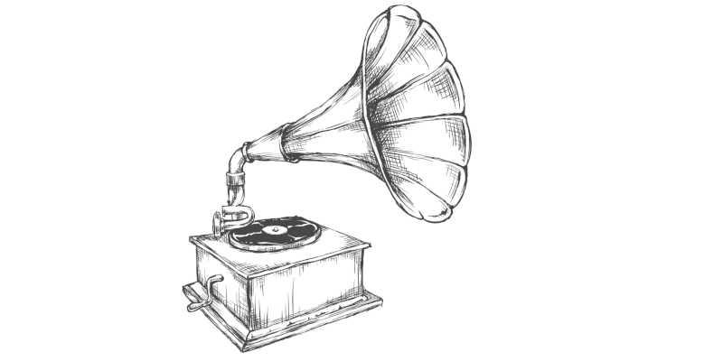 Dibujo de gramófono antiguo